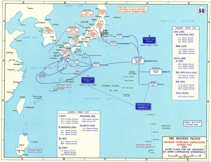 Operation Downfall - planned Allied invasion of Japan - showing Operation Olympic and Operation Coronet phases